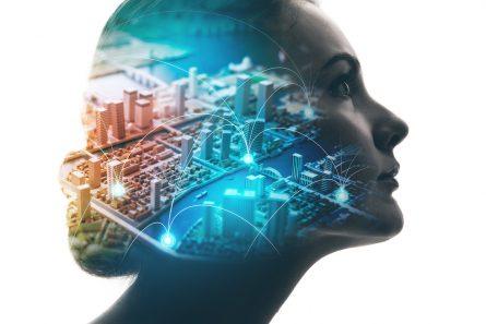 Visuel représentant l'intelligence artificielle avec un visage de femme
